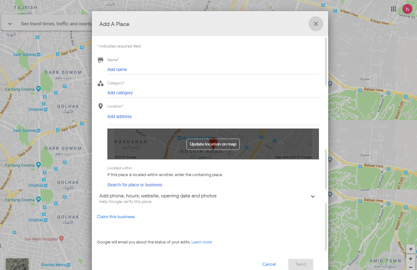 وارد کردن لوکیشن در نقشه گوگل